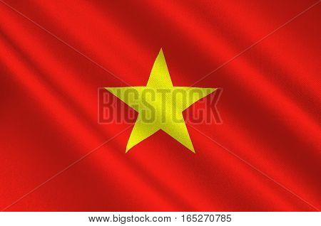 Flag of Vietnam officially the Socialist Republic of Vietnam. 3D illustration
