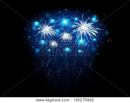 Abstract background with blue and white fireworks, vector illustration