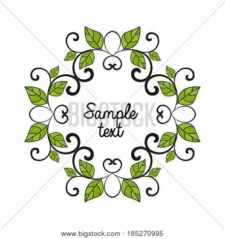 Vector leaves decoration, frame with place for text on a white background