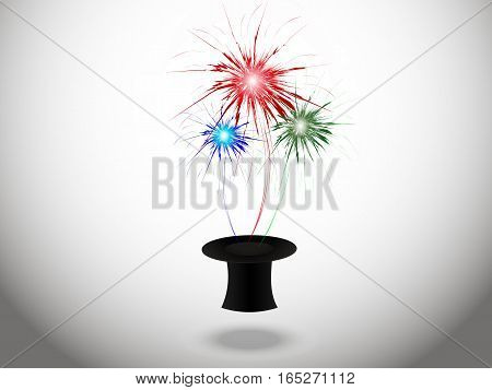 Abstract background with fireworks from the hat of the magician, vector illustration