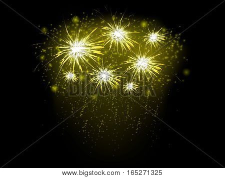 Abstract background with gold fireworks, vector illustration