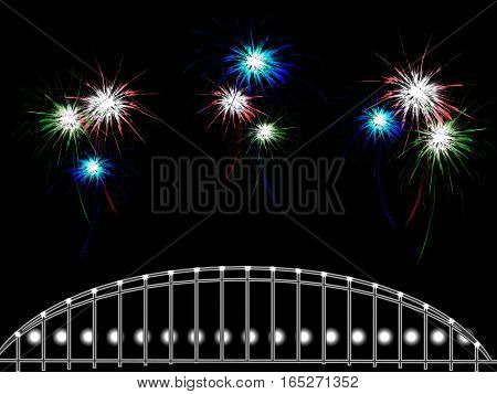 Abstract background with lots of fireworks over the bridge, vector illustration