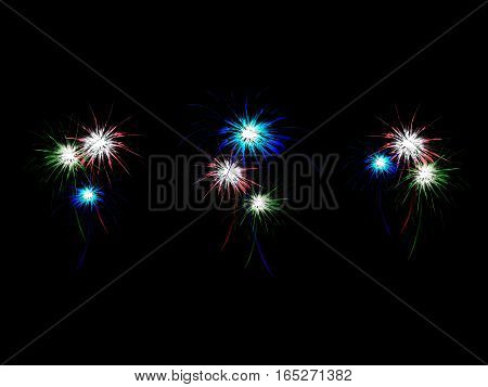 Abstract background with lots of fireworks, vector illustration