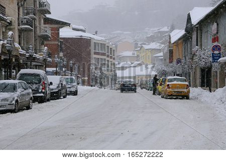 VELIKO TARNOVO BULGARIA - JANUARY 6 2017: Snowfall in the town on the winter day