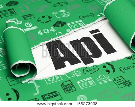 Software concept: black text Api under the curled piece of Green torn paper with  Hand Drawn Programming Icons, 3D rendering