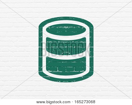 Programming concept: Painted green Database icon on White Brick wall background