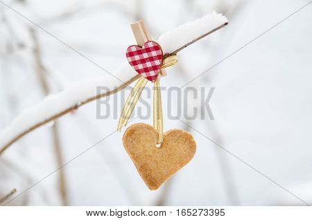 Snow-covered branch decorated with the Heart-shaped cookie.