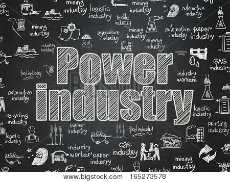 Manufacuring concept: Chalk White text Power Industry on School board background with  Hand Drawn Industry Icons, School Board