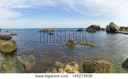 Beach in the South of the Park Vorontsov Palace. Alupka Crimea Russia