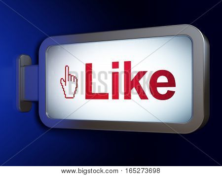 Social network concept: Like and Mouse Cursor on advertising billboard background, 3D rendering