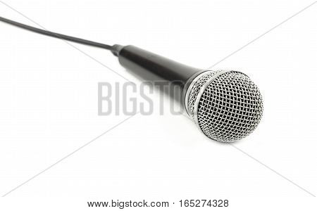 Microphone With Cable Side View Close Up On White