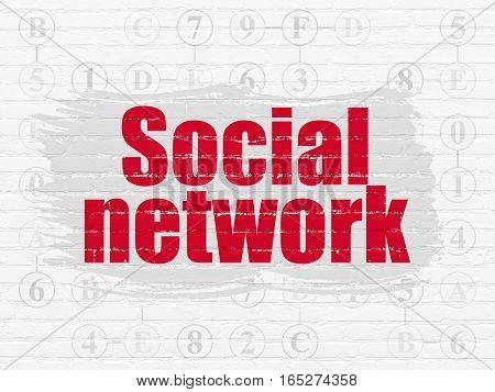 Social network concept: Painted red text Social Network on White Brick wall background with Scheme Of Hexadecimal Code