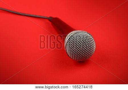 Microphone With Cable High Angle Close Up Over Red