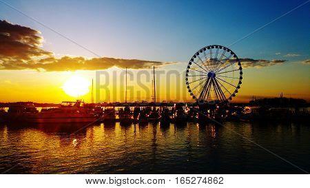 Washington D.C. National Harbor Park sunset on the Potomac River