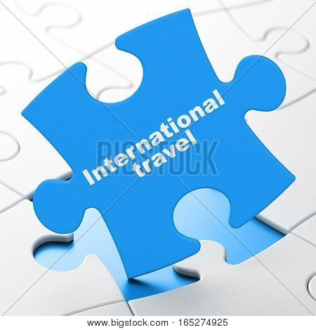Travel concept: International Travel on Blue puzzle pieces background, 3D rendering