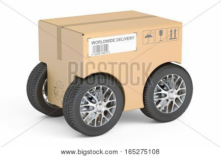 Parcel with car wheels fast delivery concept. 3D rendering isolated on white background
