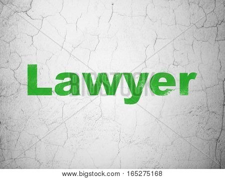 Law concept: Green Lawyer on textured concrete wall background