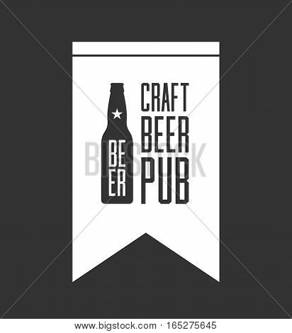 Craft beer pub logo concept isolated on dark background. Beer bottle silhouette. Brew pub sign vector illustration. Simple mono craft beer icon infographic pictogram. Brewery label artwork design.