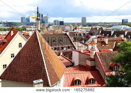 view of roofs of the old city Tallinn Estonia