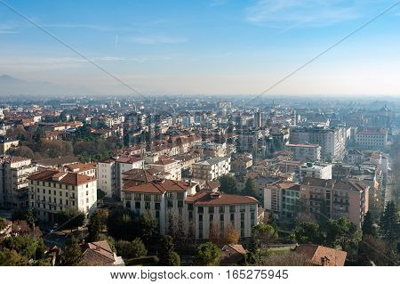Aerial view on Bergamo town, Lombardy, Italy