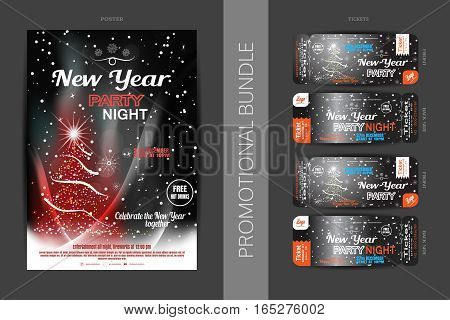 Vector New Year night party promotional bundle of poster and tickets on the dark gray gradient background with Christmas tree snowflakes and snowfall.
