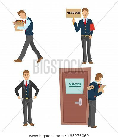 unemployed man set. dismissed from work going with a box of personal belongings. Have no money, job search