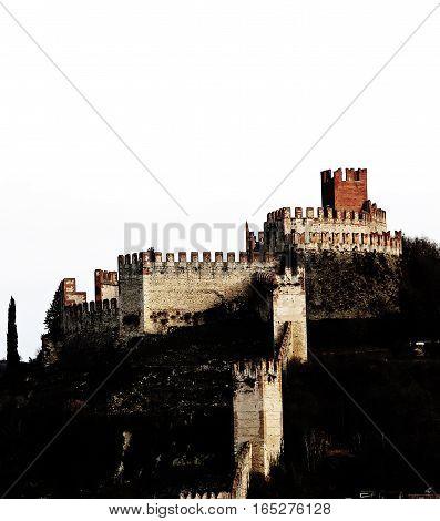 Soave Verona Italy Ancient Castle With Medieval Walls