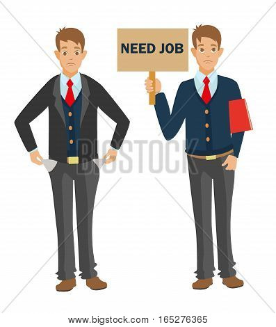Unemployed man with red CV need job and need money. showing empty pockets, have no money