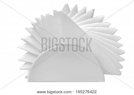 Paper napkins folded like a fan in a glass stand on white background