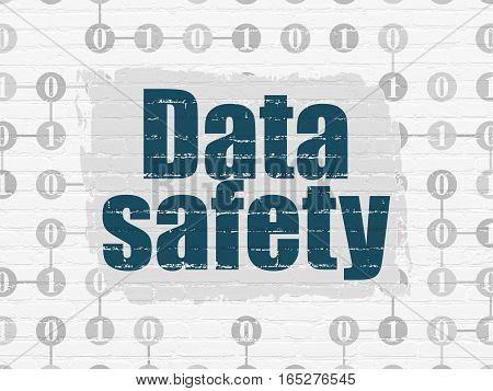 Data concept: Painted blue text Data Safety on White Brick wall background with Scheme Of Binary Code