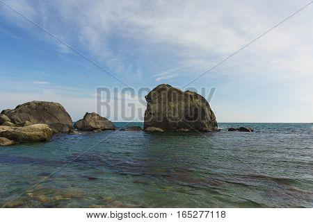 the rocks near the shore of the Black sea. Crimea Russia