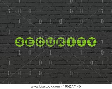 Protection concept: Painted green text Security on Black Brick wall background with Binary Code