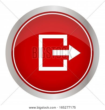 Red round icon output on a white background. Vector illustration.