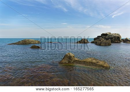 the Rocky shore of the Black sea in the South of Crimea. Russia