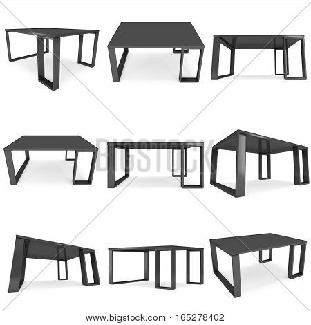 Black Table Set. 3D render isolated on white. Platform or Stand Illustration. Template for Object Presentation.
