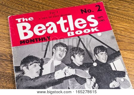 LONDON UK - JANUARY 13TH 2017: Close-up shot of issue number 2 of The Beatles Monthly Book issued in September 1963 placed on a tabletop pictured on 13th January 2017.