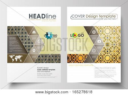 Business templates for brochure, magazine, flyer, booklet or annual report. Cover design template, easy editable blank, abstract flat layout in A4 size. Islamic gold pattern, overlapping geometric shapes forming abstract ornament. Vector golden texture.