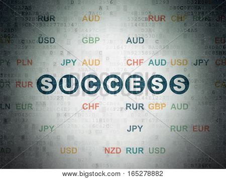 Business concept: Painted blue text Success on Digital Data Paper background with Currency