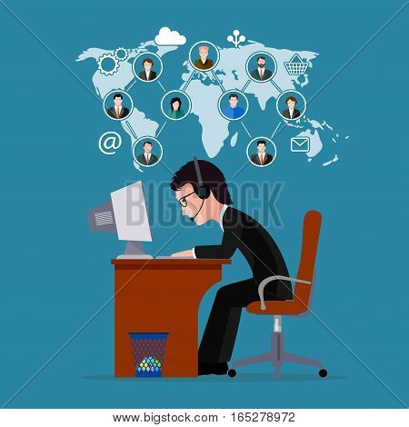 On the image presented Man the businessman working far off with clients.vector  illustration