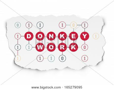 Finance concept: Painted red text Donkey Work on Torn Paper background with Scheme Of Binary Code