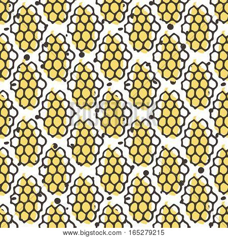 Vector natural honey seamless pattern. Bio hand drawn design. Comb in sketchy style.