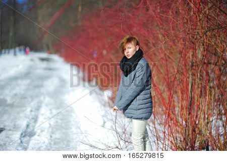 Beautiful young woman walking in winter forest on background of the naked bushes.