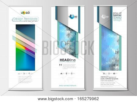 Set of roll up banner stands, flat design templates, abstract geometric style, modern business concept, corporate vertical vector flyers, flag banner layouts. Abstract triangles, blue triangular background, modern colorful polygonal vector.