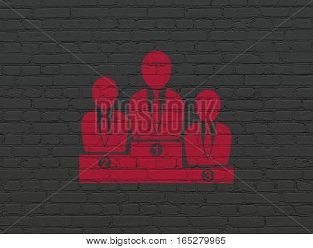 Business concept: Painted red Business Team icon on Black Brick wall background