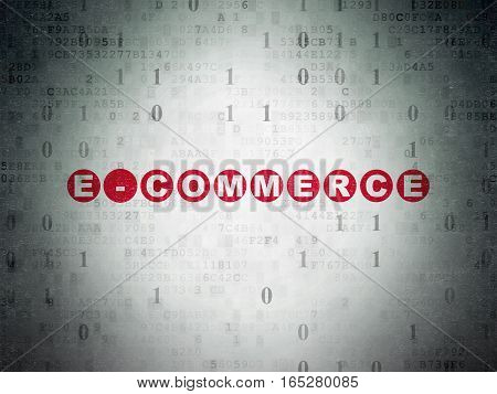 Finance concept: Painted red text E-commerce on Digital Data Paper background with Binary Code