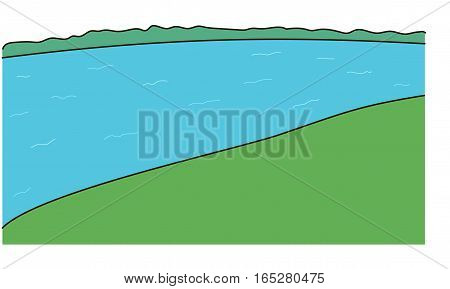 The green coasts. The blue wide river.