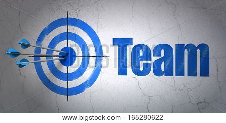Success business concept: arrows hitting the center of target, Blue Team on wall background, 3D rendering
