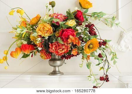 Autumn background. Cozy background. Autumn cozy decor and flowers