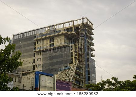 Building construction with cloudy sky as background photo taken Jakarta Indonesia java