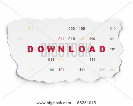 Web design concept: Painted red text Download on Torn Paper background with  Binary Code